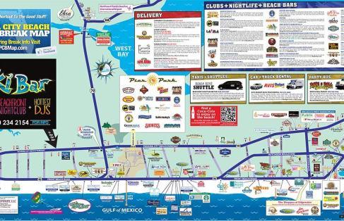 panama city beach florida map of hotels